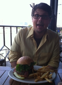 Justin is pretty excited about this burger