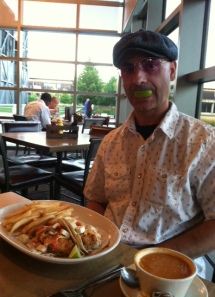 "Chris DeMay in the ""lime light"" with fish tacos"