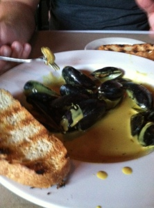 mussels luxuriating in a bath of curry