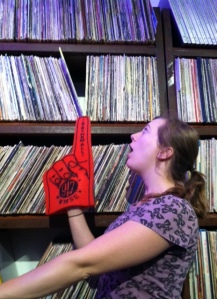 The finger helps Erin Wolf select tunes for her next show.